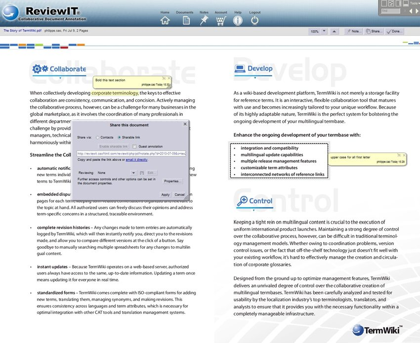 A screenshot of ReviewIT, showing its annotation, review, and traceability features in the translation and transcreation review process.