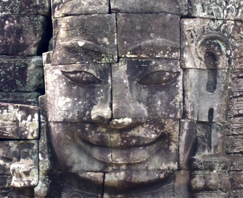 A picture of a giant face sculpture in Cambodia