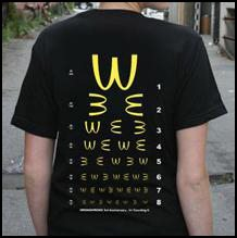 T-shirt featuring an eye chart with the McDonald's logo
