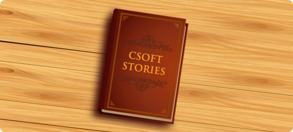 "Image of book, titled ""CSOFT Stories"" sitting on a table"