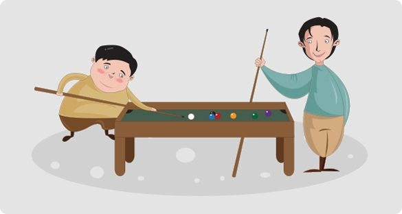 Image of CSOFT's Sam Huang and Jesse He playing a game of pool