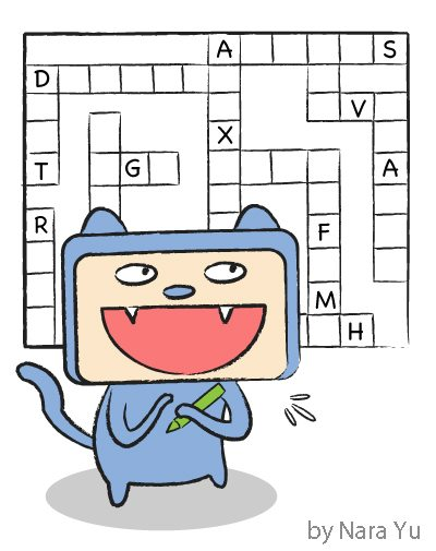 A cartoon depiction of cruciverbalist, a designer, compiler or solver of crossword puzzles.