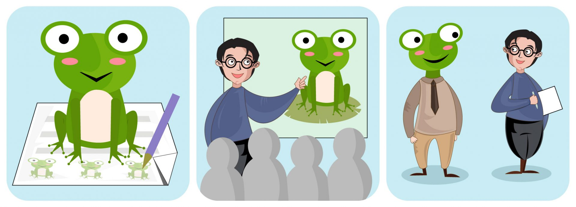 "A cartoon depiction of the time management technique ""eating the frog""."