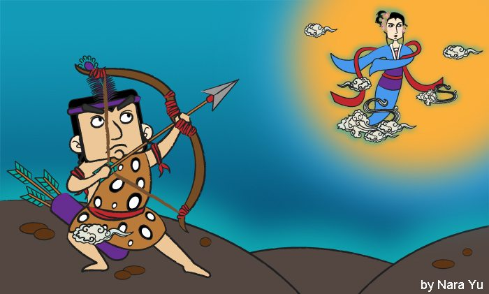 Picture of Houyi the Archer trying to shoot his wife, Chang'e, from the sky -- the origins of the Mid-Autumn Festival in China.