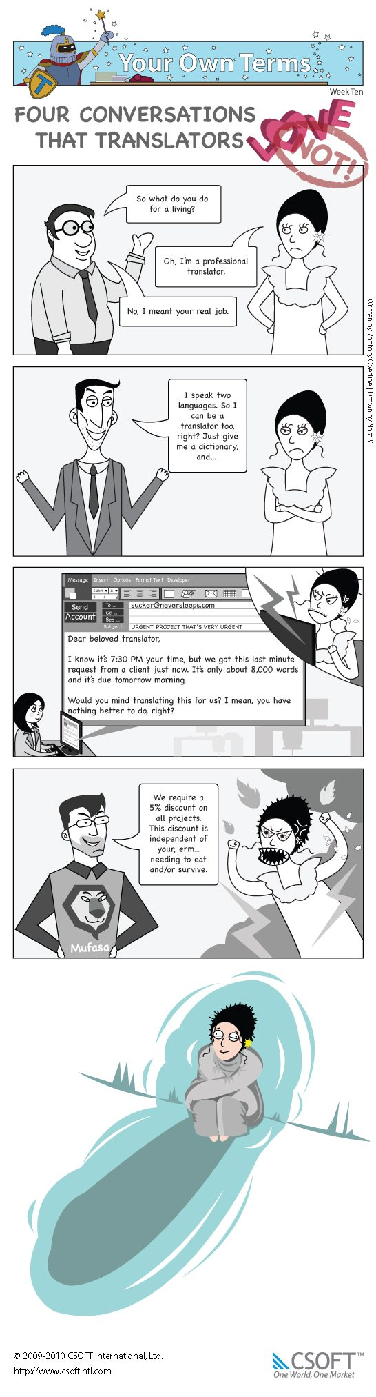 The tenth issue of Your Own Terms, the terminology management comic in which we explore four types of conversations that translators love to have. And by love, we mean hate.