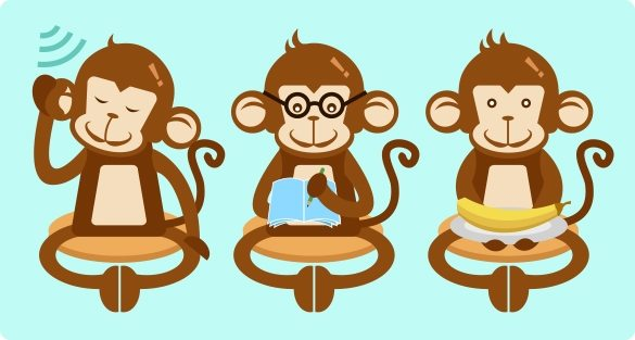 image of three monkeys, one listening, one learning, and one serving