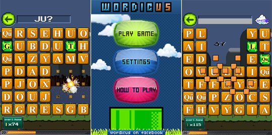 An image of Wordicus screenshots, the multilingual word game application.