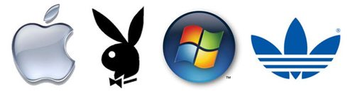 A picture of the Apple, Playboy, Windows, and Adidas logos -- all wordless, and recognized around the world.